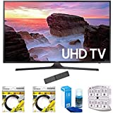 Samsung 65 4K Ultra HD Smart LED TV 2017 Model (UN65MU6300) with 2 x 6ft High Speed HDMI Cable, Screen Cleaner for LED TVs & Stanley 6-Outlet Surge Adapter with Night Light