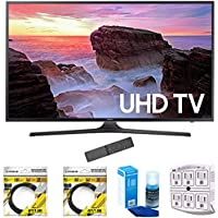 Samsung 65 4K Ultra HD Smart LED TV 2017 Model (UN65MU6300FXZA) with 2x 6ft High Speed HDMI Cable, Screen Cleaner for LED TVs & Stanley 6-Outlet Surge Adapter with Night Light