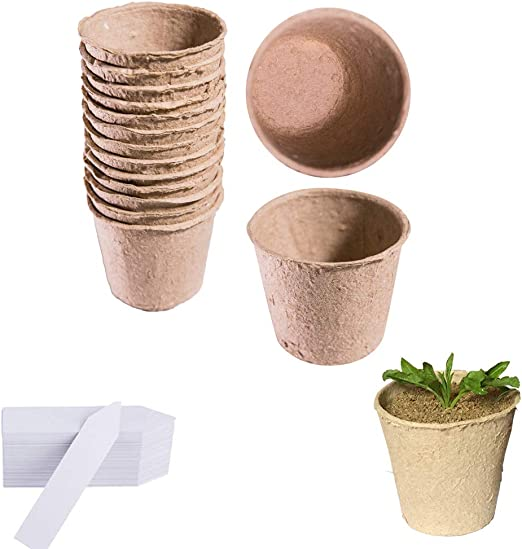 120 macetas de 6 cm redondas de fibra biodegradables para semillas ...