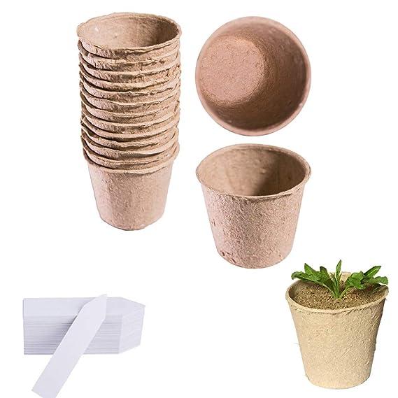 60 macetas de 6 cm redondas de fibra biodegradables para semillas ...