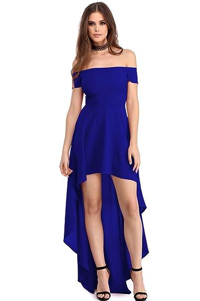 Mujer Color Sólido Elegante Irregular Largo Vestido Fiesta Elegante Sin Tirantes Vestidos Playa Manga Corta Azul