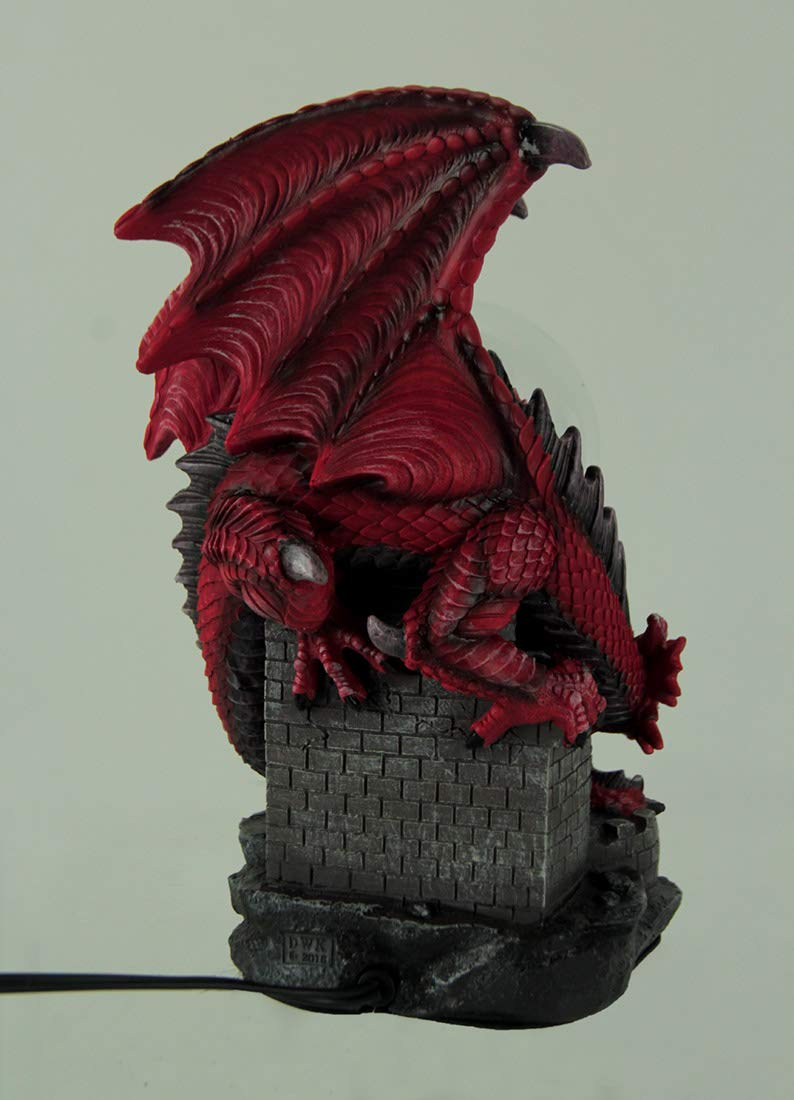 World Of Wonders Gothic Red Dragon On Castle Electric Plasma Ball Statue