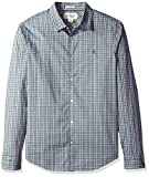 Original Penguin Men's Tartan Check Dress Shirt, Steel Gray, Extra Extra Large
