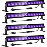 Onforu 4 Pack 24W LED Black Light Bar with Plug and Switch, 5ft Power Cord, IP66 Blacklight for Glow Party, Stage…