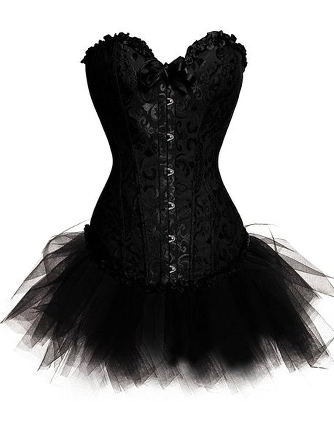 Donna Plus size lingerie burlesque corsetto con gonna tut/ù Halloween outfit set