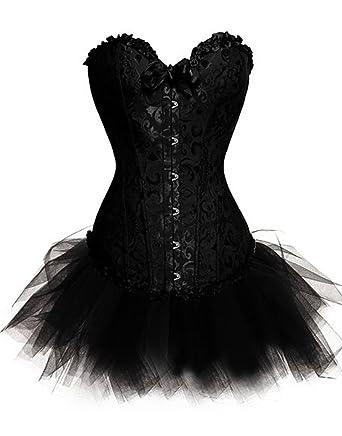 Womens Plus Size Lingerie Burlesque Corset With Tutu Skirt