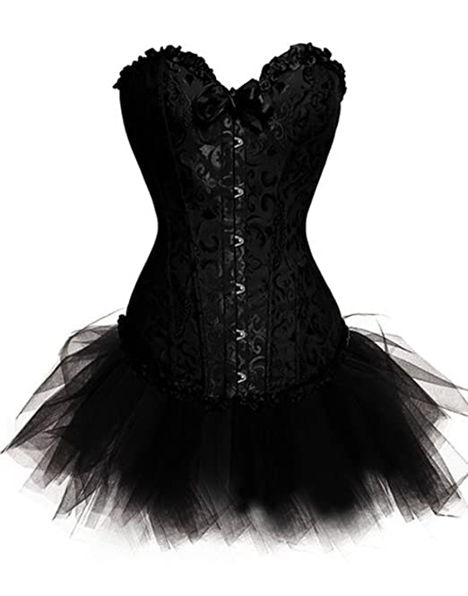 De la Mujer Plus Tamaño lencería Burlesque corsé con Falda tutú ...