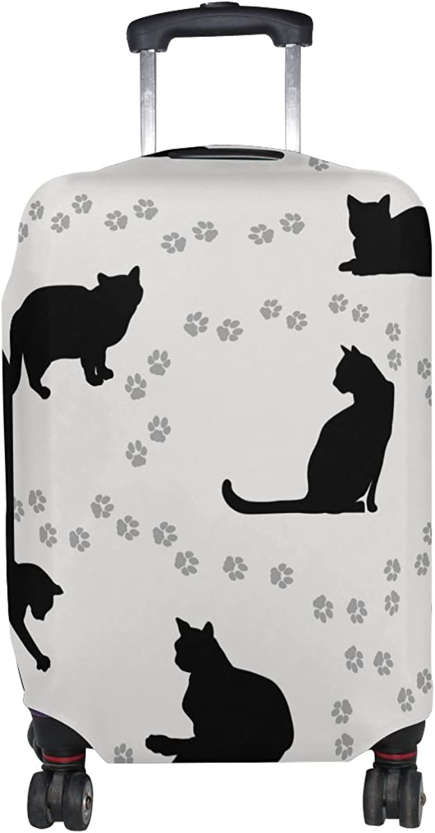 LAVOVO Black Cats Paws Footprints Luggage Cover Suitcase Protector Carry On Covers