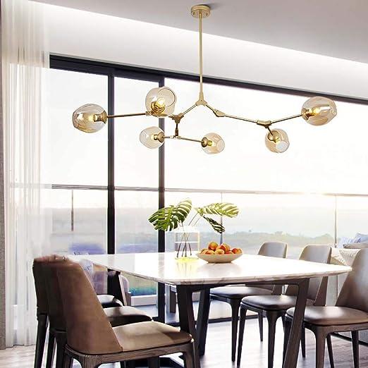 GLLSZ 6-flammig Gold Sputnik Kronleuchter Modern Matt Glaskugel Kronleuchter Einstellbar Pendelleuchte Retro Deckenleuchte F/ür Wohnzimmer-A 6-licht