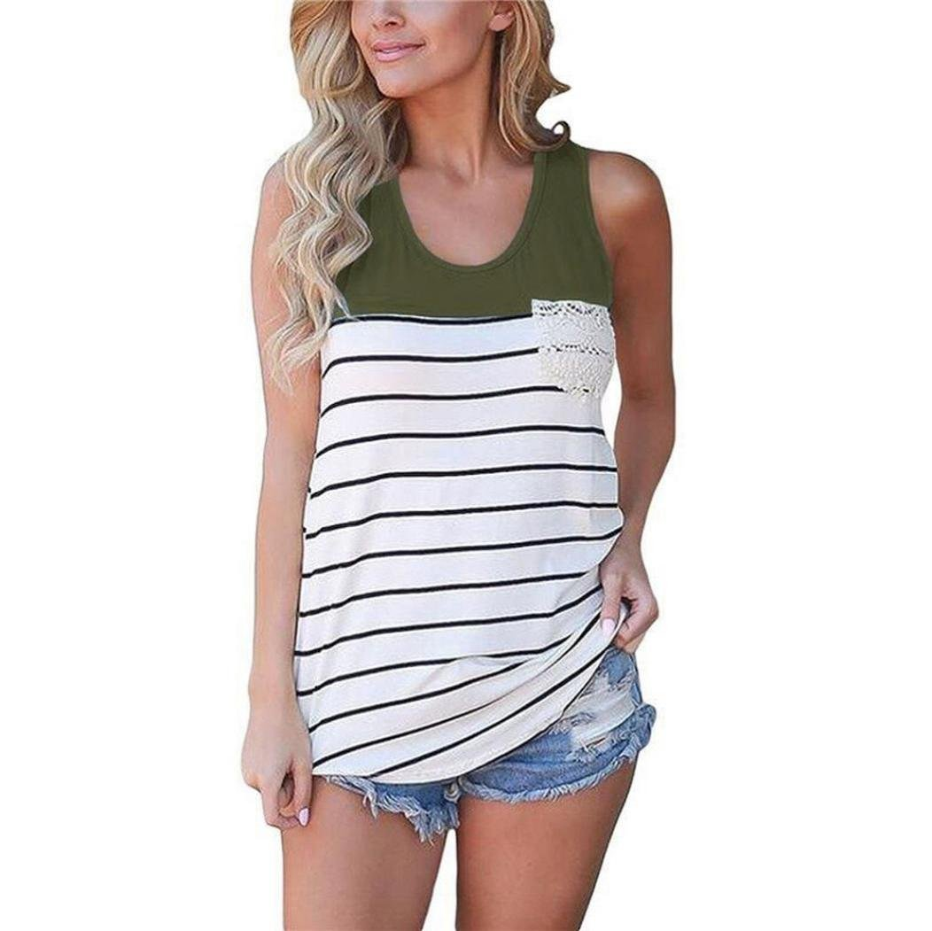 Mujeres Tank Top, Koly Fashion Stripe Encaje O-cuello Pocket Blusas sin mangas (L, ejercito verde)