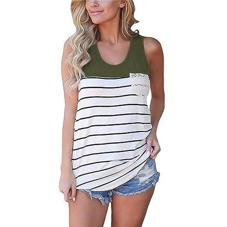 Mujeres Tank Top, Koly Fashion Stripe Encaje O-cuello Pocket Blusas sin mangas (