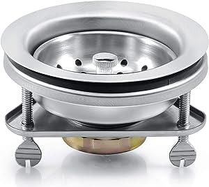 KONE 3-1/2 Inch Kitchen Sink Drain Assembly Strainer Basket/Stopper, 304 Premium Stainless Steel Kitchen Sink Drain Kit With Triangular base