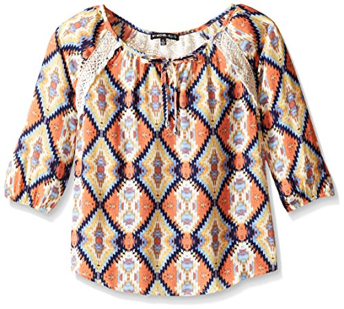 My Michelle Big Girls' Printed Blouse with Tie Front and ...