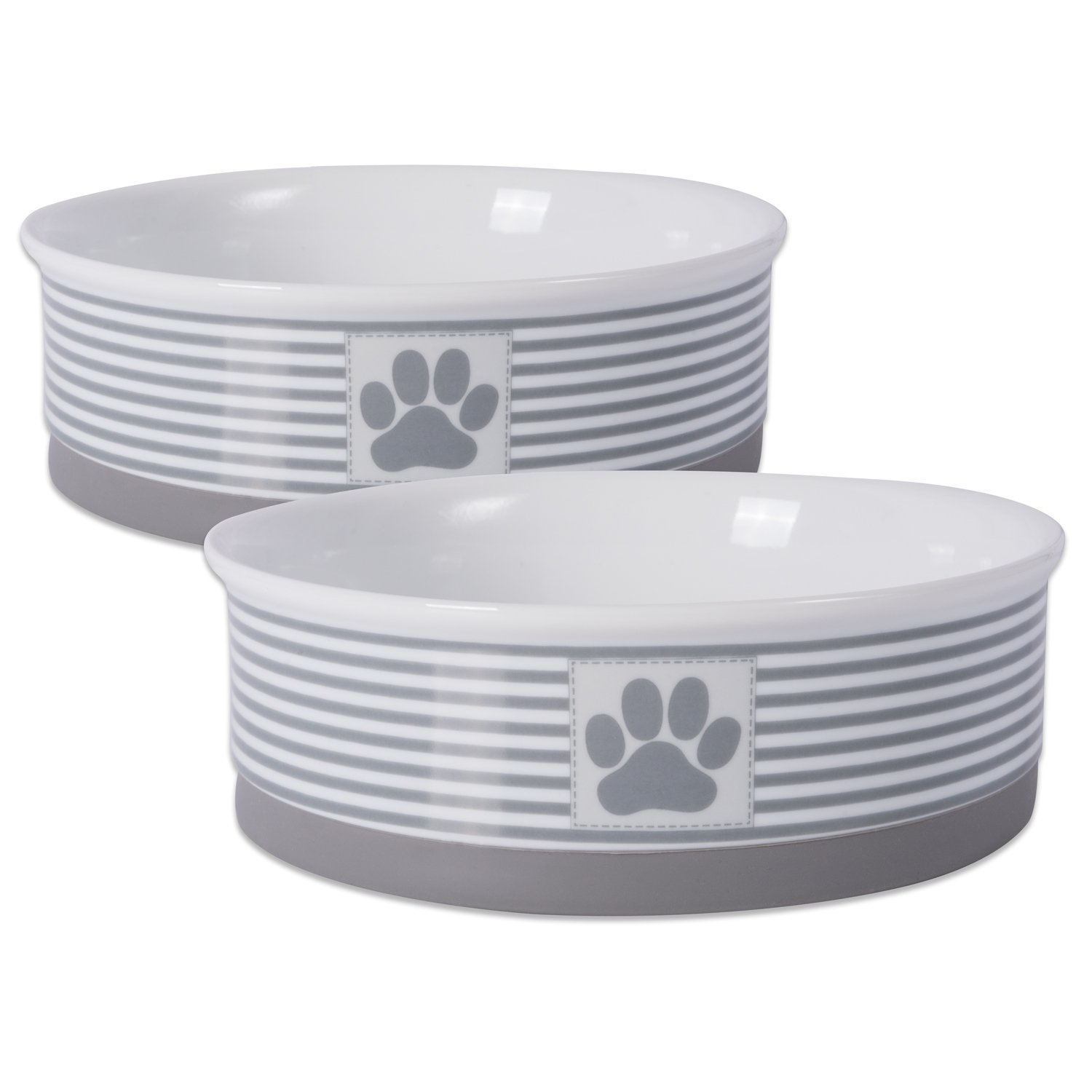 DII Bone Dry Paw Patch & Stripes Ceramic Pet Bowl for Food & Water with Non-Skid Silicone Rim for Dogs and Cats (Large - 7.5'' Dia x 2.4''H) Gray - Set of 2 by Bone Dry