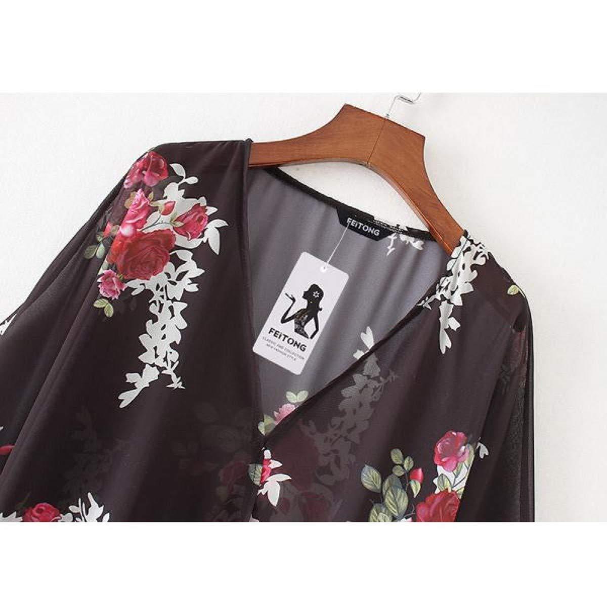 OTINICE Women's Chiffon Kimono Cardigans Floral Puff Sleeve Casual Loose Swimwear Cover ups Black by OTINICE (Image #5)