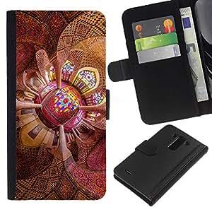 KLONGSHOP // Tirón de la caja Cartera de cuero con ranuras para tarjetas - Techo psicodélico - LG G3 //