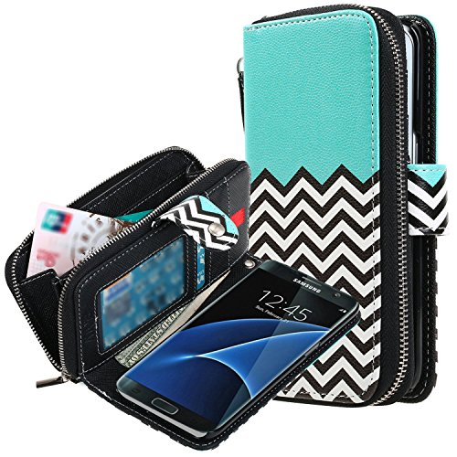 E LV Galaxy S7 Edge Case, Galaxy S7 Edge - 2IN1 (CASE CUM PURSE) PU Leather flip Wallet Bag Pouch Case Cover For Samsung Galaxy S7 Edge - [ZIGZAG]