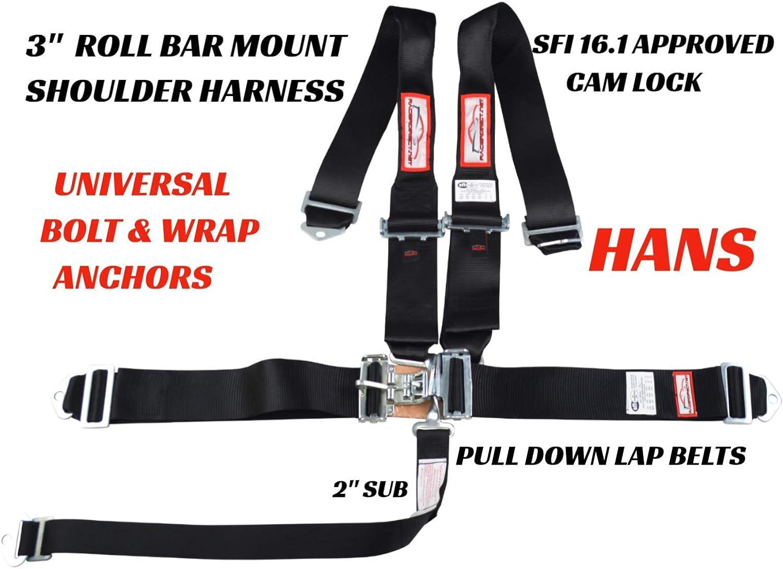 Black Race CAR V Harness 5 Point SFI 16.1 Racing CAM Lock 3 ROLL BAR Mount Bolt in