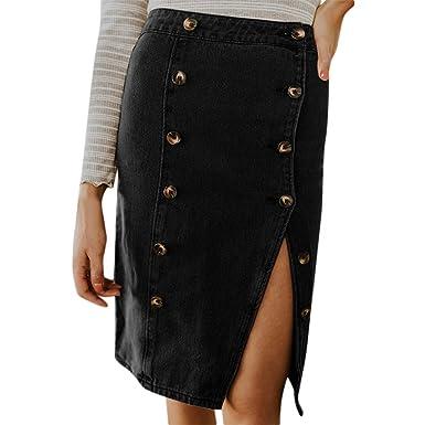 Falda Mujer Midi Faldas para Mujeres BIBOKAOKE Cintura Alta Estilo ...