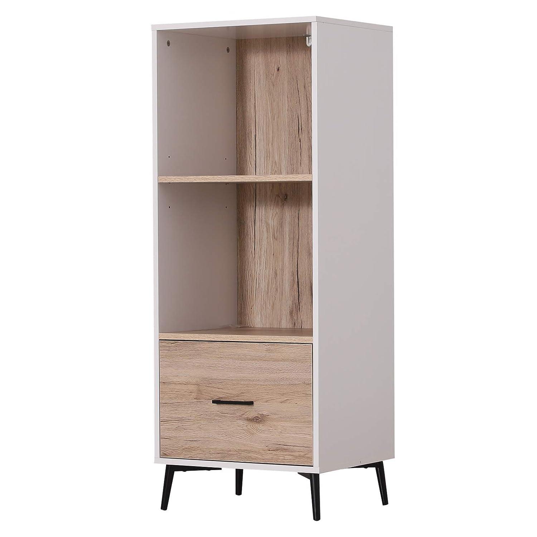 HOMCOM Armario Gabinete Consola Mueble Aparador Organizador de Almacenaje Multiusos de Cocina Comedor Salón con Cajón y Estantes 48x40x123cm