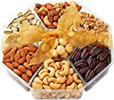 #2: Gift Baskets, Nuts Gift Basket - Food Gifts - Gourmet Nuts - 7-Sectional - Fruit and Nut Gift Baskets - Hula Delights