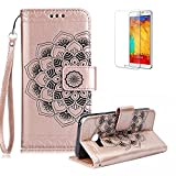 For Samsung Galaxy A5 (2017) Case [with Free Screen Protector],Funyye Classic Vintage [Sunflower Flower Pattern] Premium Folio PU Leather Wallet Magnetic Flip Full Protection Holster Case for Samsung Galaxy A5 (2017)-Rose Gold