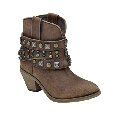 Women's Distressed Cognac Studded Ankle Boot - P5042