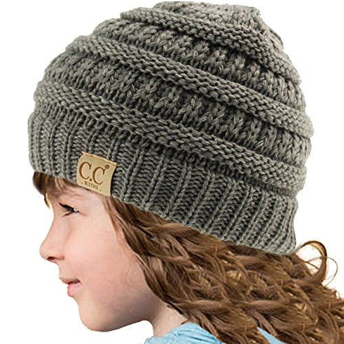 Kids Beanie Hat (Kids CC Ages 2-7 Warm Chunky Thick Stretchy Knit Slouch Beanie Skull Hat Gray)