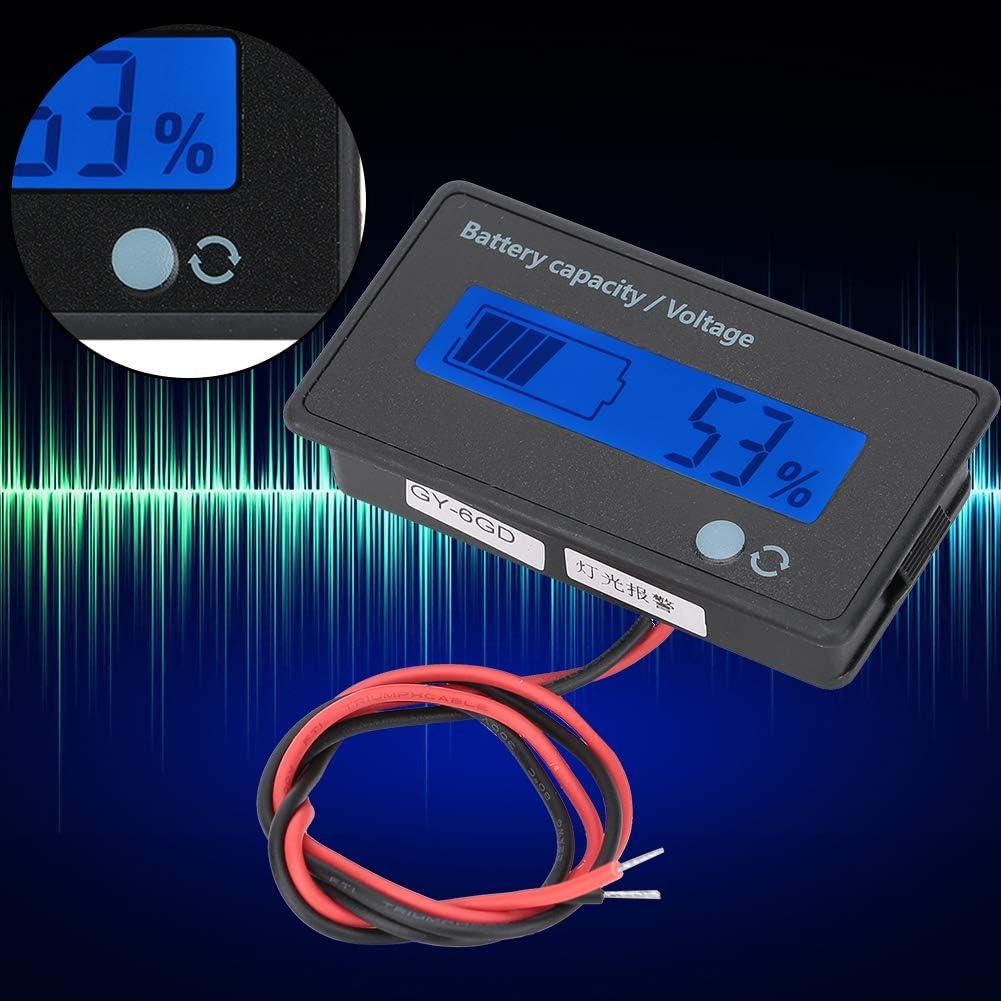 Monitor de medidor de Voltaje de 12-84V//probador de Capacidad de bater/ía para bater/ía de Plomo-/ácido bater/ía de Litio Azul Monitor LCD Digital de Capacidad de bater/ía con Alarma Intermitente