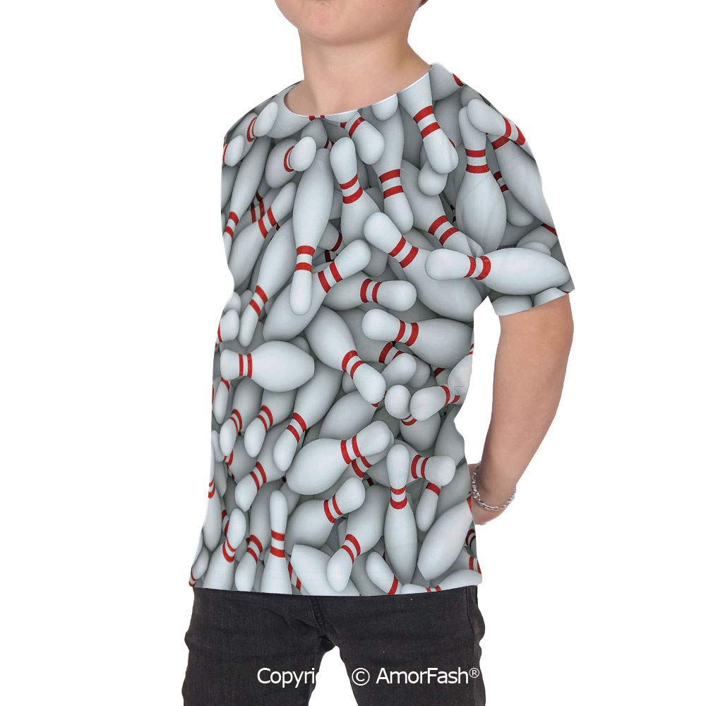 PUTIEN Bowling Party Decorations Girl Regular-Fit Short-Sleeve Shirt,Personality Patter
