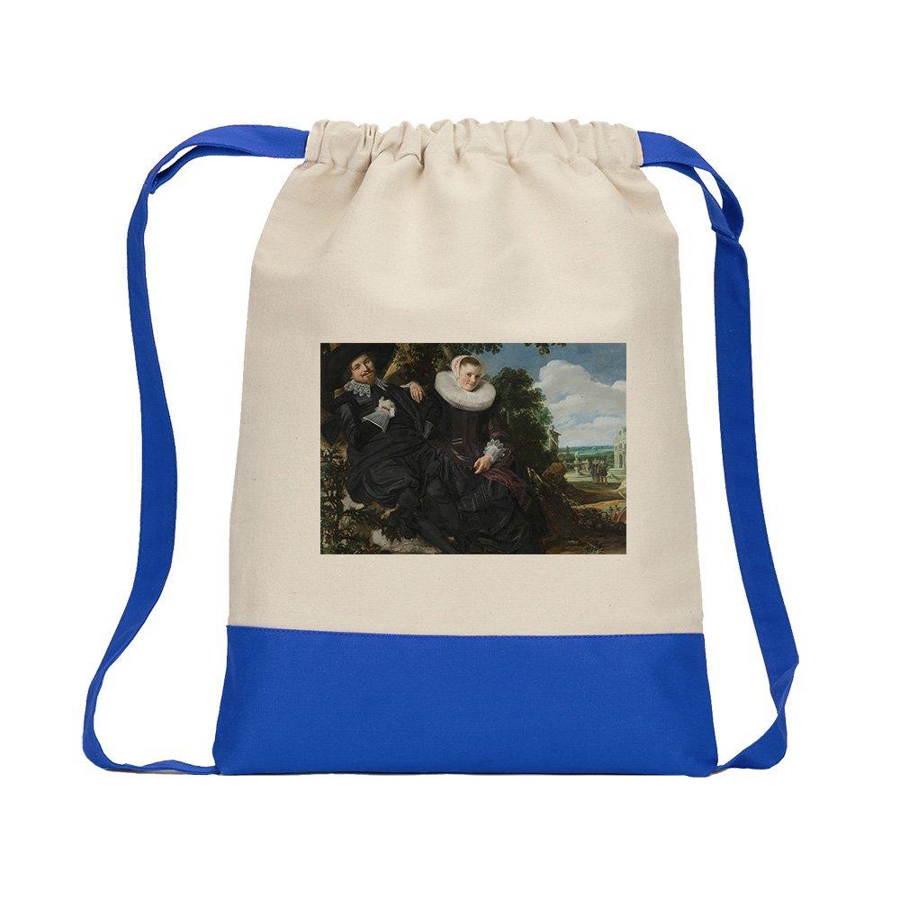 Wedding Portrait (Frans Hals) Canvas Backpack Color Drawstring - Royal Blue