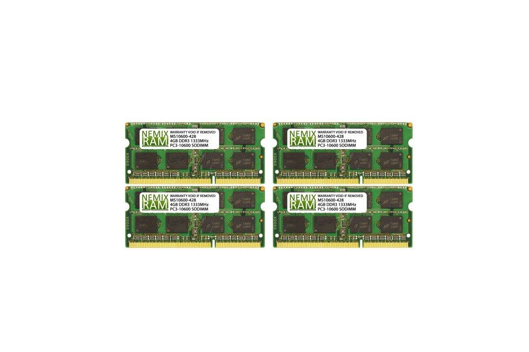 16GB (4 X 4GB) DDR3-1333MHz PC3-10600 SODIMM for Apple iMac 27'' 2011 Intel Core i7 Quad-Core 3.4GHz 27'' MC814LL/A CTO (iMac12,2) by NEMIXRAM (Image #1)