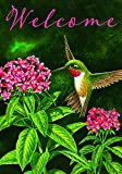 """WELCOME HUMMINGBIRD"" - Spring / Summer - STANDARD Size, 28 Inch X 40 Inch, Decorative Double Sided Flag Copyright and License Custom Decor Inc. MADE IN USA"