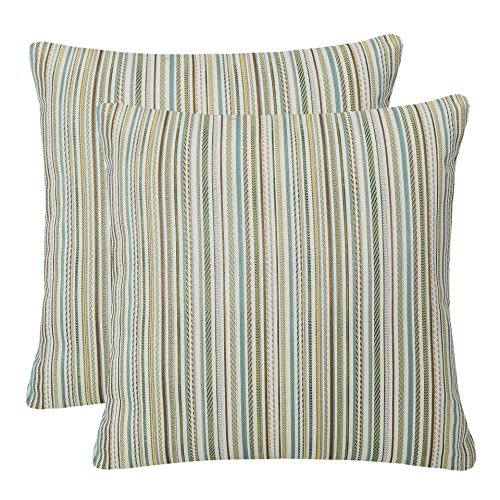 - Pack of 2 Simpledecor Throw Pillow Covers Couch Pillow Shells,20X20 Inches,Jacquard Colorful Stripes,Multicolor Teal
