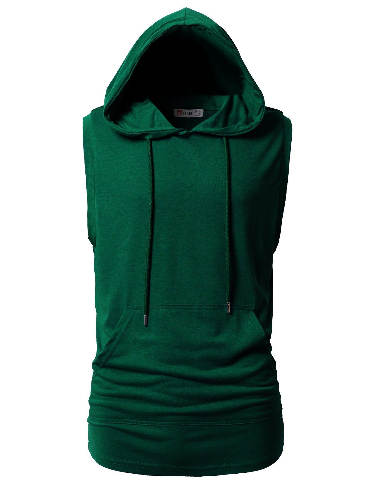 H2H Mens Casual Slim Fit Hooded Tank-Top DarkGreen US XL/Asia 2XL (CMTTK028)