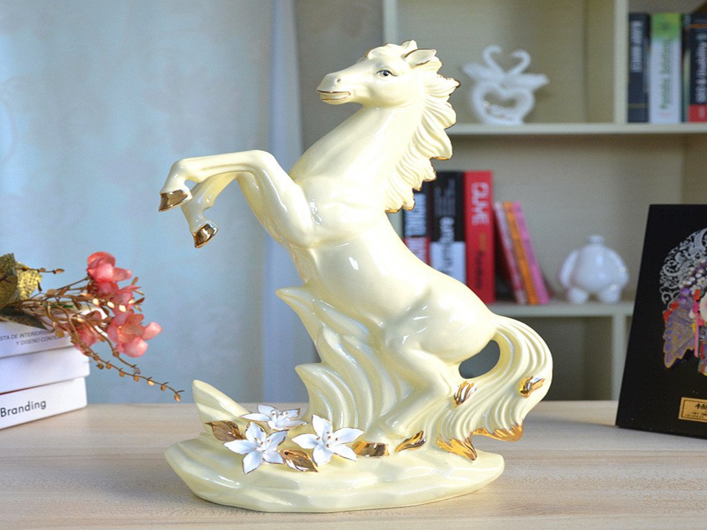 Year of The Horse Gifts Pinch Flower Crafts Creative Desk Decorations Horse Success Ceramic Simulation Horse
