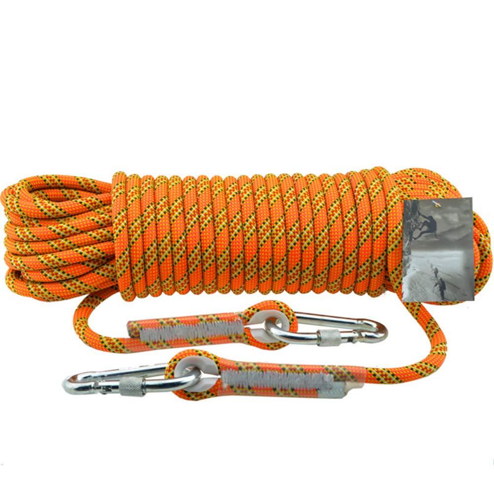 安全緊急補助ロープ、直径11mmの消防ホームレスキューラッペリングロープ、アウトドアクライミングアドベンチャー、空中作業外装建設保護ロープ- オレンジ 15m