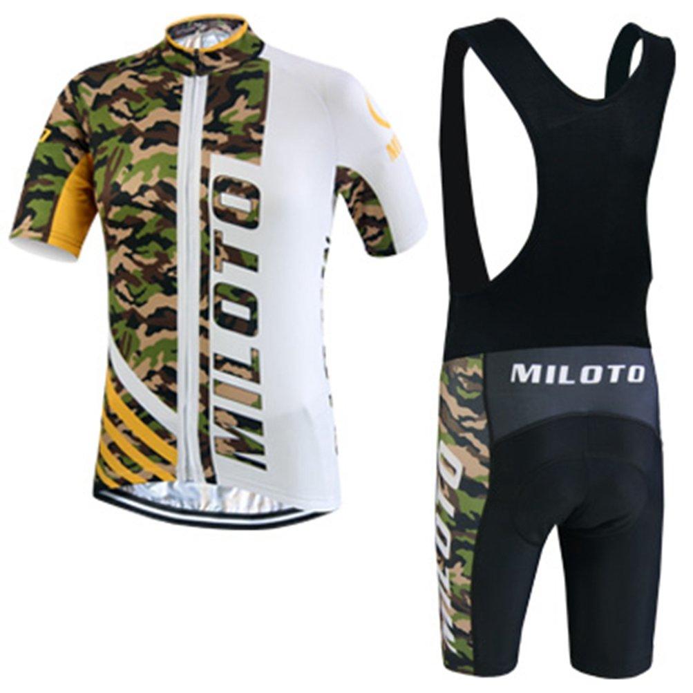 Uriah Men's Cycling Jersey Bib Shorts Black Sets Short Sleeve Reflective Camouflage Size 5XL(CN) by Uriah