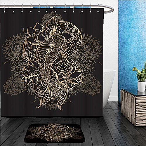 Beshowereb Bath Suit  Showercurtian   Doormat Hand Drawn Asian Spiritual Symbols Gold Koi Carp With Lotus And Waves On A Black Background It 420081310