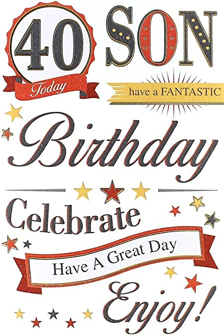 40th SON IN LAW BIRTHDAY CARD AGE 40 ~ MODERN DESIGN QUALITY CARD