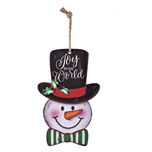 Snowman Door Wall Plaque Sign Christmas Holiday New Year Hanging Decoration Indoor Outdoor Wood Sign Home Decor -Joy to The World