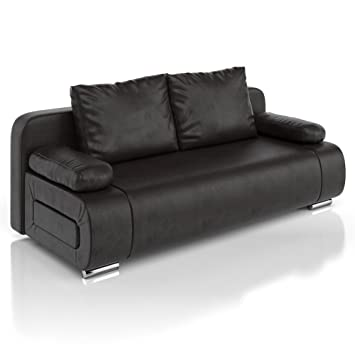 vicco schlafsofa sofa couch ulm federkern schlafcouch pu leder schwarz gstebett - Sofacouch Mit Schlafcouch