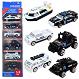 T.H. Mini Police Cars Alloy Models Pocket Size Racing Play Vehicles Die Cast Toy for Children Boys, 6 Pcs