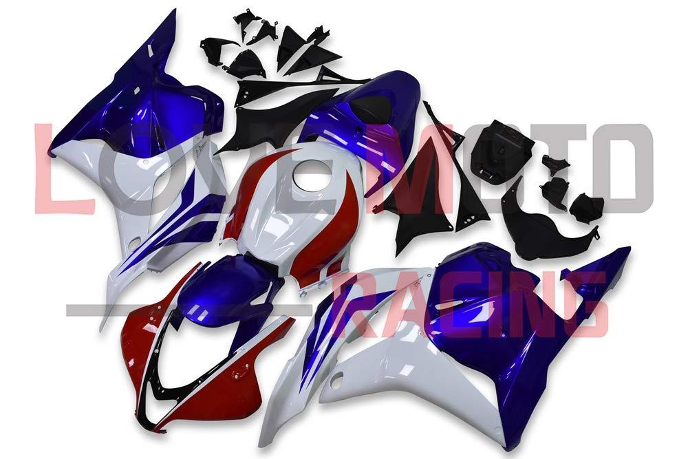 LoveMoto ブルー/イエローフェアリング ホンダ honda CBR600RR F5 2009 2010 2011 2012 09 10 11 12 CBR600 RR F5 ABS射出成型プラスチックオートバイフェアリングセットのキット ホワイト ブルー   B07KF84NS2
