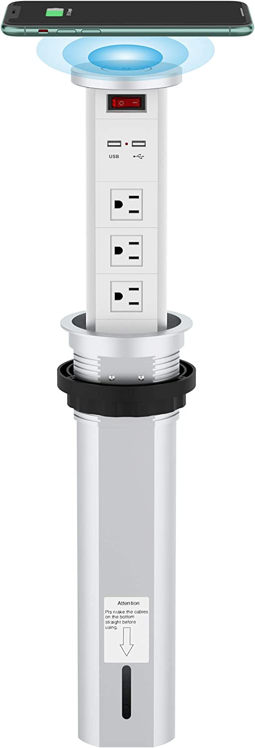 Automatic Raising Surge Protector Pop up Outlet Retractable Hidden Recessed Power Strip Power Socket 2 USB Charging Stations and 3 AC Plug with Wireless Charger for Kitchen Island, Conference Table