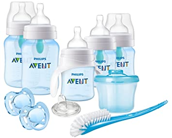 Philips Avent Anti-Colic Baby Bottle with AirFree Vent Beginner Gift Set Blue, SCD393/05
