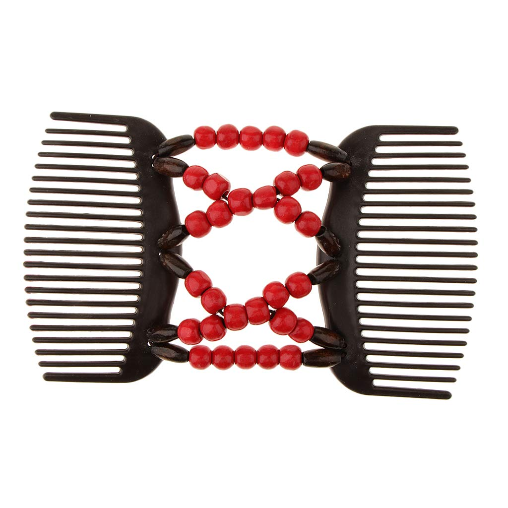 Baoblaze Stretchable Combs Lady Womens Girl Ez Magic Hair Decoration Double Clip Comb - Rose Red, as described