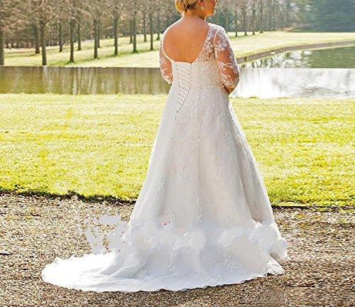 Izanoy Plus Size Hochzeitskleid VAusschnitt Spitze Halbe Hülse ...