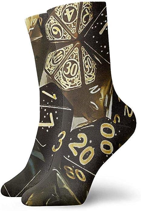 Dydan Tne Unisex Adultos Adolescentes Dados poligonales Calcetines Negros y Dorados Vestido de algodón Calcetines Gruesos y cálidos: Amazon.es: Deportes y aire libre