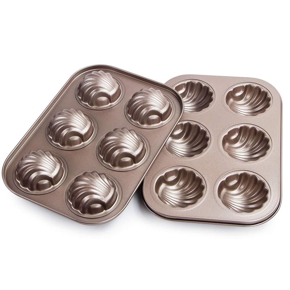 Webake Non-stick Madeleine Pans Carbon Steel Cake Pan French Dessert Mold Spherical Scallop Madeline Bakeware 2 Pack Set by Webake